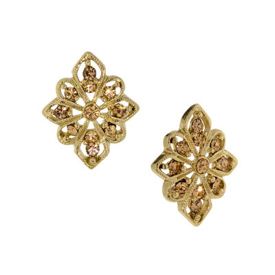 1928 Vintage Inspirations Brown Brass Diamond Stud Earrings