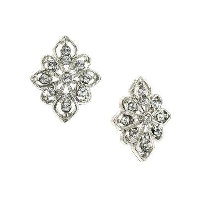 1928 Vintage Inspirations Clear Brass Diamond Stud Earrings