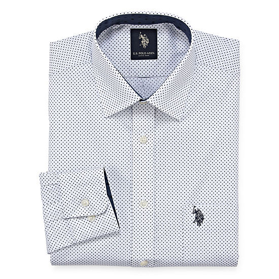 U.S. Polo Assn. - Slim Dress Shirt Mens Spread Collar Long Sleeve Stretch Dress Shirt