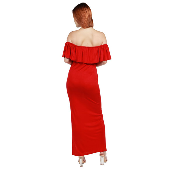 24/7 Comfort Apparel Long Cool Woman Off the Shoulder Dress