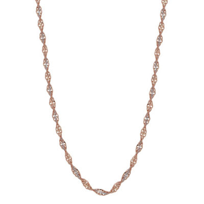 14K Rose Gold 18 Inch Solid Chain Necklace