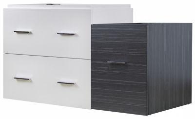 37.25-in. W 17.8-in. D Modern Wall Mount Plywood-Veneer Vanity Base Set Only In White-Dawn Grey
