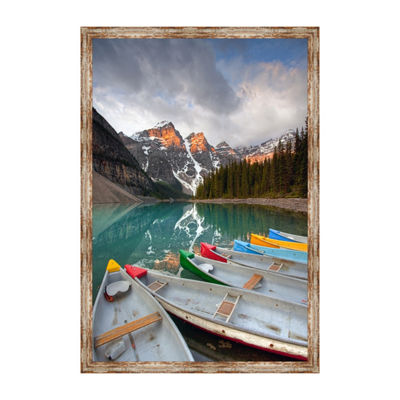 Moraine Lake Canoes 2 Framed Canvas Art