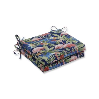 Pillow Perfect Set of 2 Flamingoing Lagoon Squared Corners Patio Seat Cushion