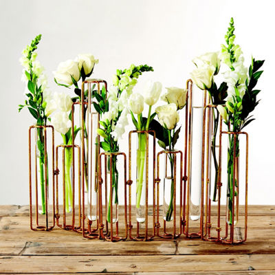 Two's Company Set Of 10 Hinged Flower Vases With Antiqued Gold Finish