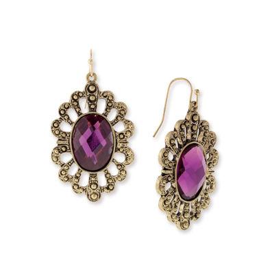 1928 Vintage Inspirations Purple Brass Drop Earrings