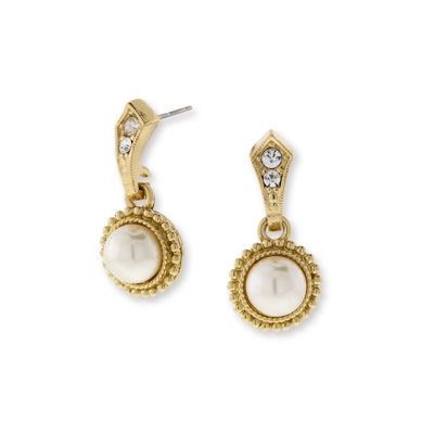 1928 Vintage Inspirations White Brass Round Drop Earrings