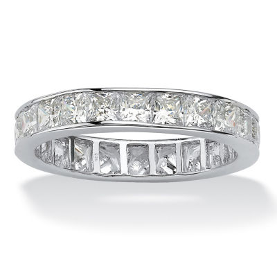 Diamonart Womens 4mm 5 1/4 CT. T.W. White Cubic Zirconia Platinum Over Silver Square Band