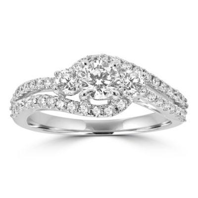 Love Lives Forever Womens 1 CT. T.W. Genuine White Diamond 14K White Gold Engagement Ring