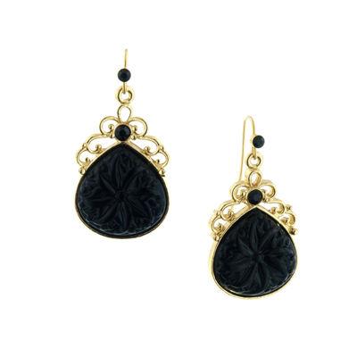 1928 Vintage Inspirations Black Brass Drop Earrings
