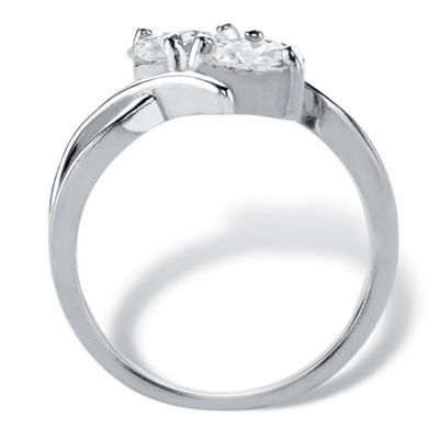 Diamonart Womens 2 CT. T.W. White Cubic Zirconia Sterling Silver Round Cocktail Ring