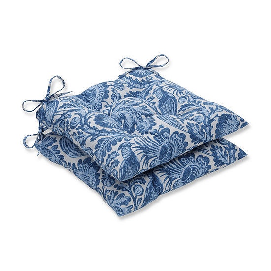 Pillow Perfect Set of 2 Tucker Resist Azure Wrought Iron Patio Seat Cushion
