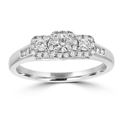 Love Lives Forever Womens 1/2 CT. T.W. Genuine White Diamond 14K White Gold 3-Stone Engagement Ring