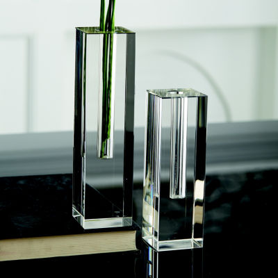 Two's Company Square Set Of 2 Crystal Glass Vases