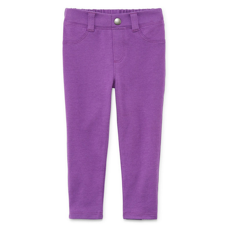 Okie Dokie Ponte Pull-On Jegging Pants, Girls, Malibu Purple, Size 3 Months