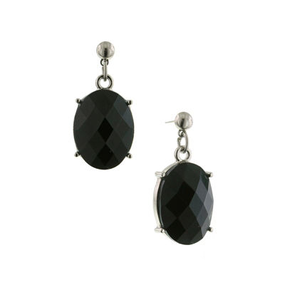 1928 Vintage Inspirations Black Oval Drop Earrings