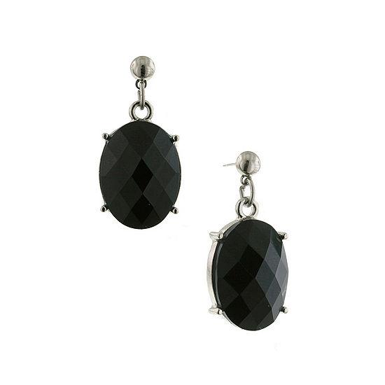 1928 Vintage Inspirations 1 Pair Black Oval Drop Earrings