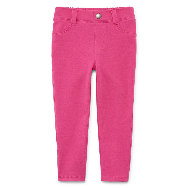 Okie Dokie Ponte Pull-On Jegging Pants, Girls, Modern Pink, Size 24 Months