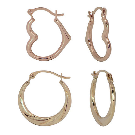 10K Gold Heart 2 Pair Earring Set