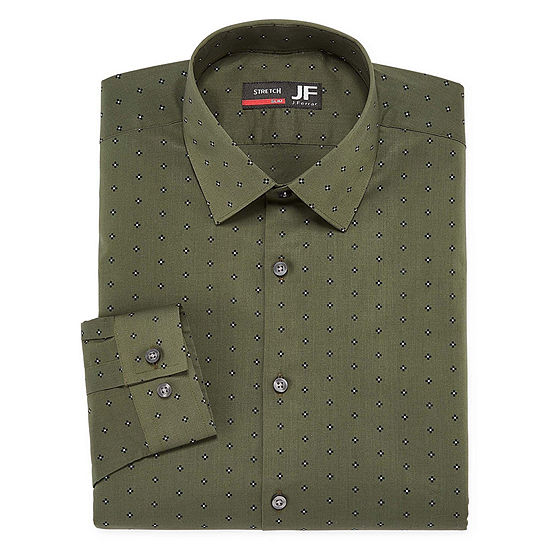 JF J.Ferrar - Slim Easy Care Stretch Mens Point Collar Long Sleeve Stretch Dress Shirt
