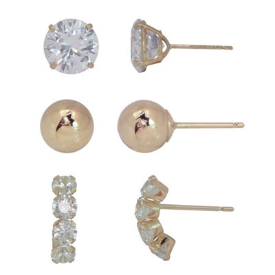 3 Pair Lab Created White Cubic Zirconia 10K Gold Earring Sets