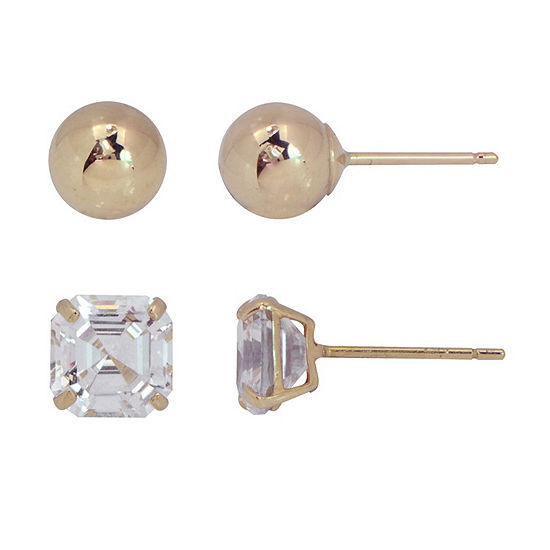 Lab Created White Cubic Zirconia 10K Gold 2 Pair Earring Set