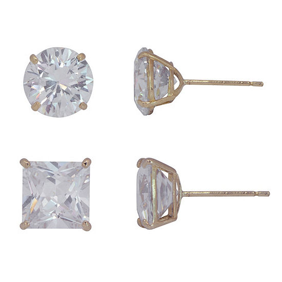 White Cubic Zirconia 10K Gold 2 Pair Earring Set