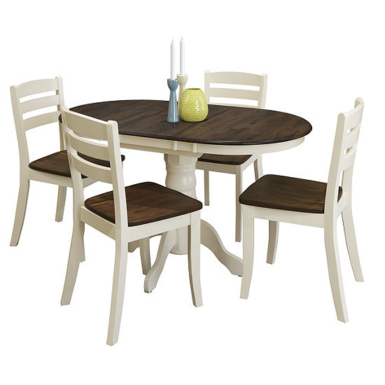 CorLiving Dillon 5pc Extendable Oval Solid Wood Dining Set