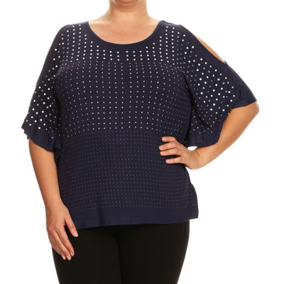 Kaily K. Short Sleeve Cold Shoulder with Studs - Plus