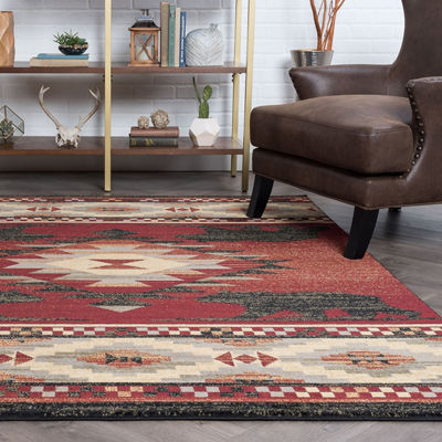 Tayse Diamond Deer Novelty Lodge Area Rug