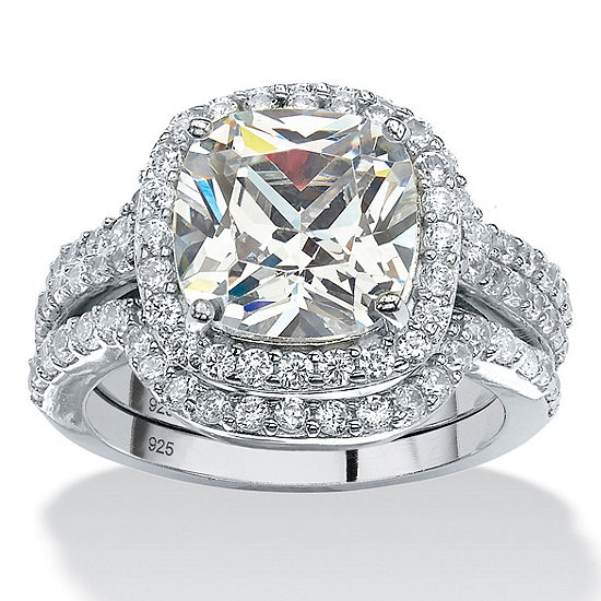 DiamonArt® Womens 4 1/4 CT. T.W. White Cubic Zirconia Platinum Over Silver Square Bridal Set
