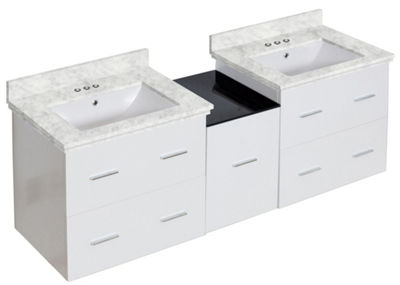 61.5-in. W Wall Mount White Vanity Set For 3H4-in.Drilling Bianca Carara Top White UM Sink