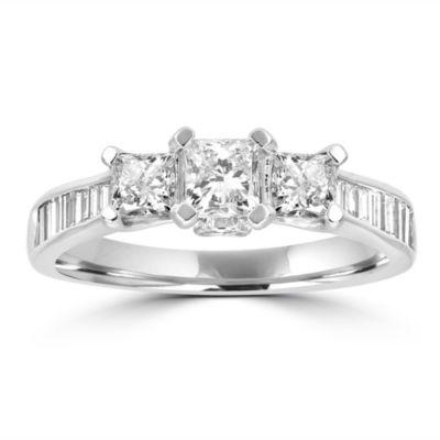 Love Lives Forever Womens 1 1/2 CT. T.W. Genuine White Diamond 14K White Gold 3-Stone Ring