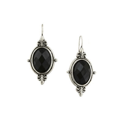 1928 Vintage Inspirations Black Brass Oval Drop Earrings