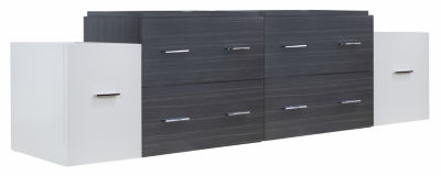 74.5-in. W 17.8-in. D Modern Wall Mount Plywood-Melamine Vanity Base Set Only In White-Dawn Grey