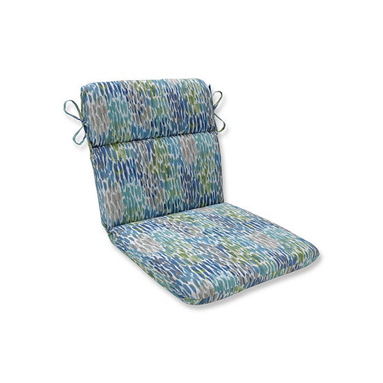 Pillow Perfect Make It Rain Cerulean Rounded Corners Patio Chair Cushion