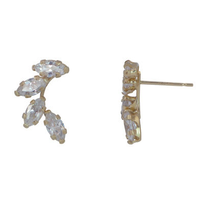 Lab Created White Cubic Zirconia 10K Gold Stud Earrings