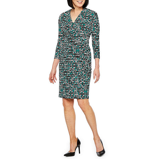 Black Label by Evan-Picone 3/4 Sleeve Dots Sheath Dress