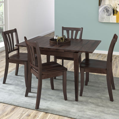 CorLiving Dillon 5pc Extendable Rectangular Cappuccino Stained Solid Wood Dining Set
