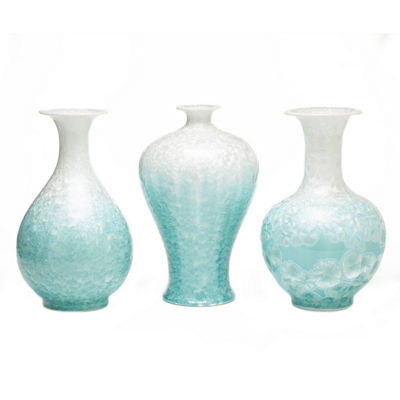 Two's Company Set Of 3 Mother Of Pearl Effect Celadon Vases