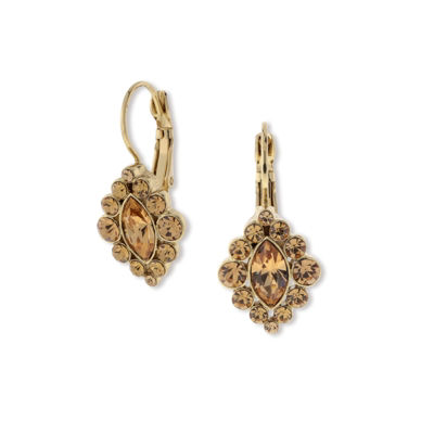 1928 Vintage Inspirations Brown Brass Diamond Drop Earrings