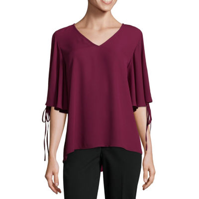Worthington Lace Up Flutter Sleeve Top