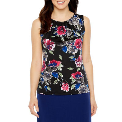Chelsea Rose Sleeveless Keyhole Neck Floral Blouse