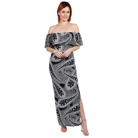 24Seven Comfort Apparel Emilia Blue Paisley EmpireWaist Maxi Dress - Plus