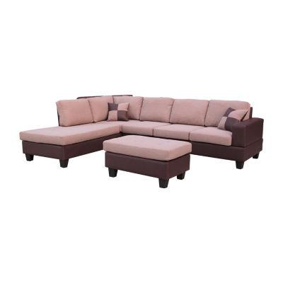 Left Hand Facing Sectional Sofa with Ottoman