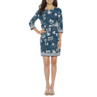 Studio 1 3/4 Sleeve Floral Shift Dress-Petite