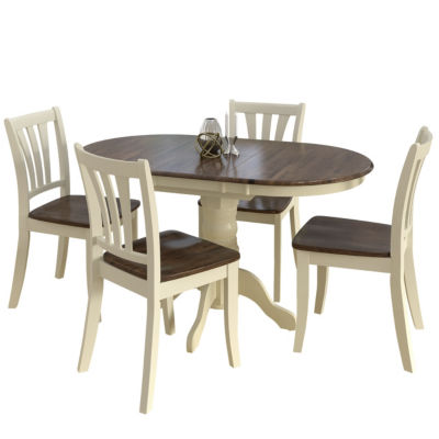 CorLiving Dillon 5pc Extendable Oval Dark Brown And Cream Solid Wood Dining  Set