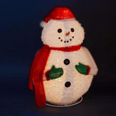 "24"" Lighted 3-D Jolly Winter Snowman Collapsible Outdoor Christmas Yard Art Decoration"