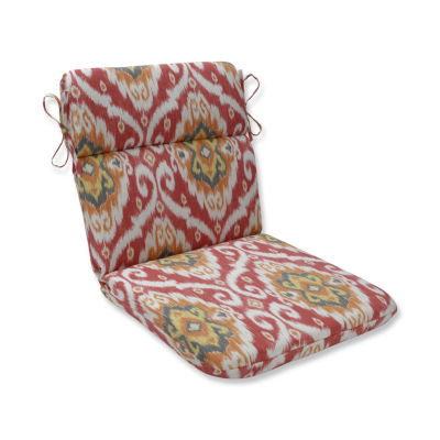 Pillow Perfect Ubud Coral Rounded Corners Patio Chair Cushion