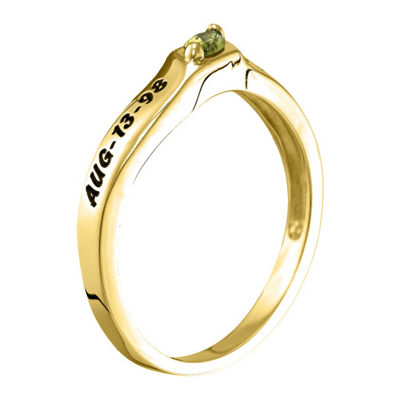 Womens Simulated Multi Color Stone 10K Gold Stackable Ring